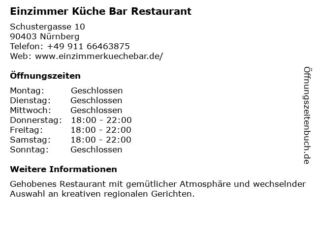 """ᐅ Öffnungszeiten """"Einzimmer Küche Bar (Restaurant ..."""