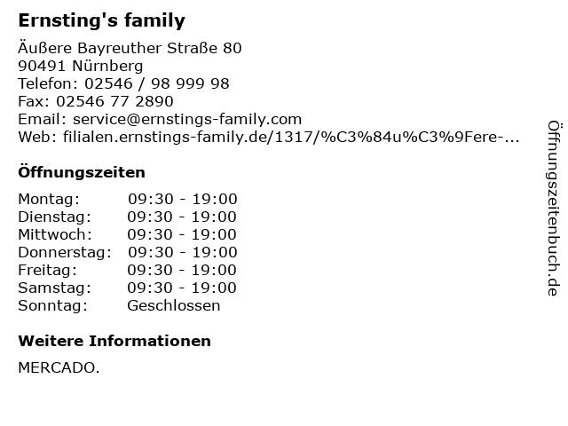 Ernsting's family in Nürnberg: Adresse und Öffnungszeiten