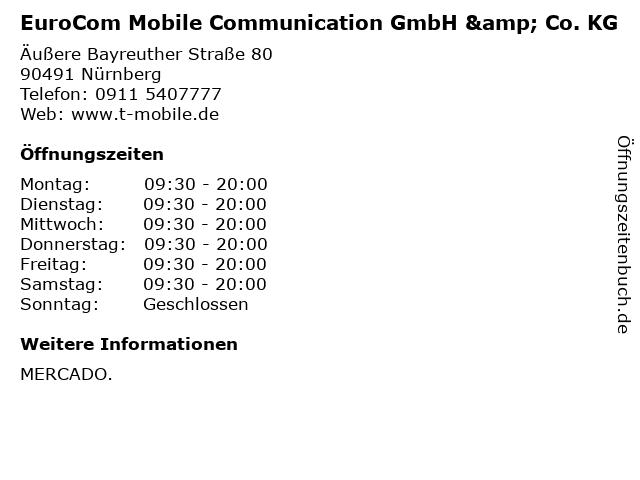 EuroCom Mobile Communication GmbH & Co. KG in Nürnberg: Adresse und Öffnungszeiten