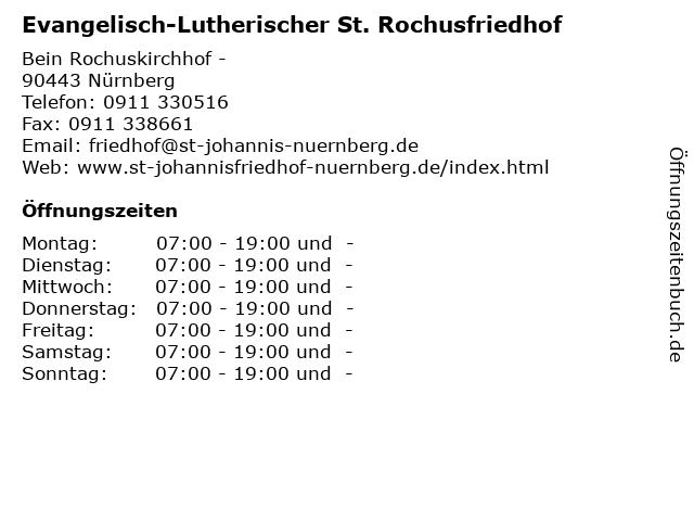 Evangelisch-Lutherischer St. Rochusfriedhof in Nürnberg: Adresse und Öffnungszeiten