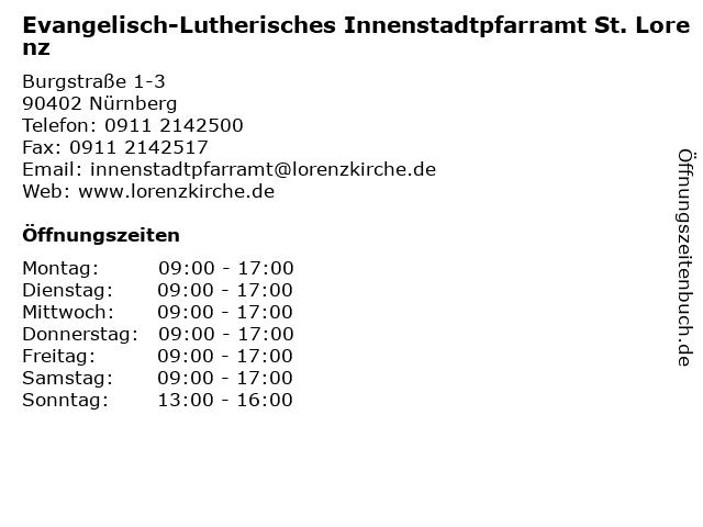Evangelisch-Lutherisches Innenstadtpfarramt St. Lorenz in Nürnberg: Adresse und Öffnungszeiten