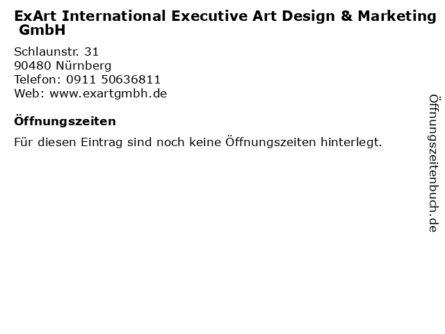 ExArt International Executive Art Design & Marketing GmbH in Nürnberg: Adresse und Öffnungszeiten