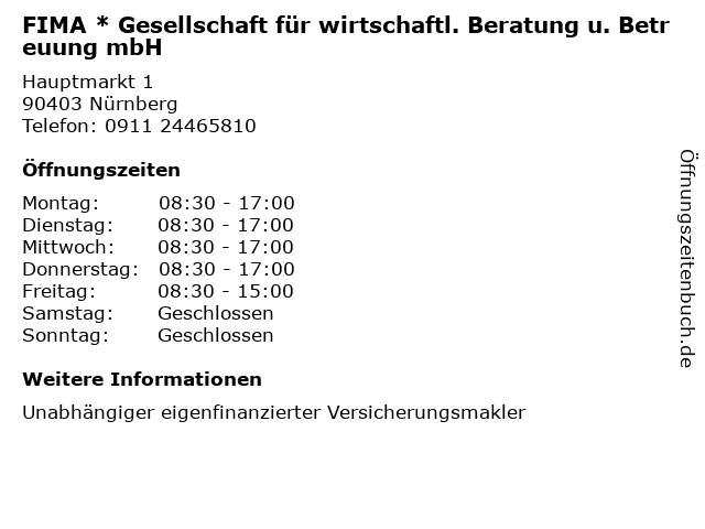 FIMA * Gesellschaft für wirtschaftl. Beratung u. Betreuung mbH in Nürnberg: Adresse und Öffnungszeiten