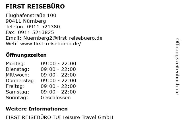 FIRST REISEBÜRO in Nürnberg: Adresse und Öffnungszeiten