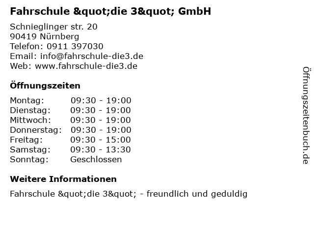 """Fahrschule """"die 3"""" GmbH in Nürnberg: Adresse und Öffnungszeiten"""