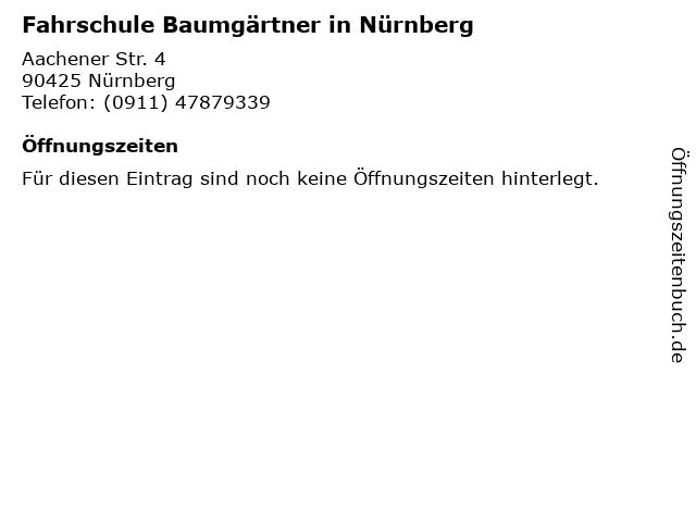 Fahrschule Baumgärtner in Nürnberg in Nürnberg: Adresse und Öffnungszeiten