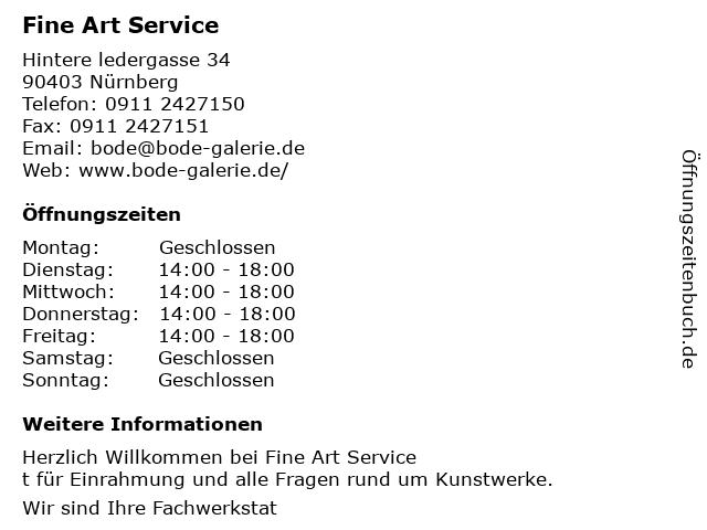 Fine Art Service in Nürnberg: Adresse und Öffnungszeiten