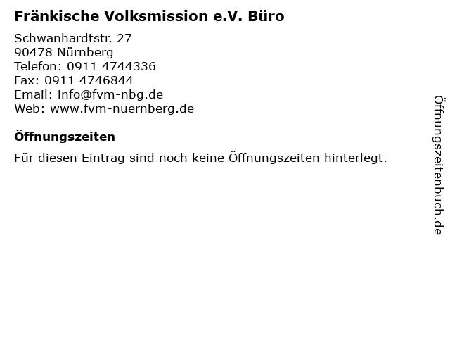 Fränkische Volksmission e.V. Büro in Nürnberg: Adresse und Öffnungszeiten