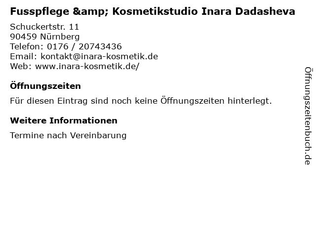 Fusspflege & Kosmetikstudio Inara Dadasheva in Nürnberg: Adresse und Öffnungszeiten