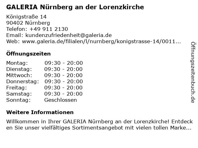 GALERIA (Karstadt) Nürnberg An der Lorenzkirche in Nürnberg: Adresse und Öffnungszeiten