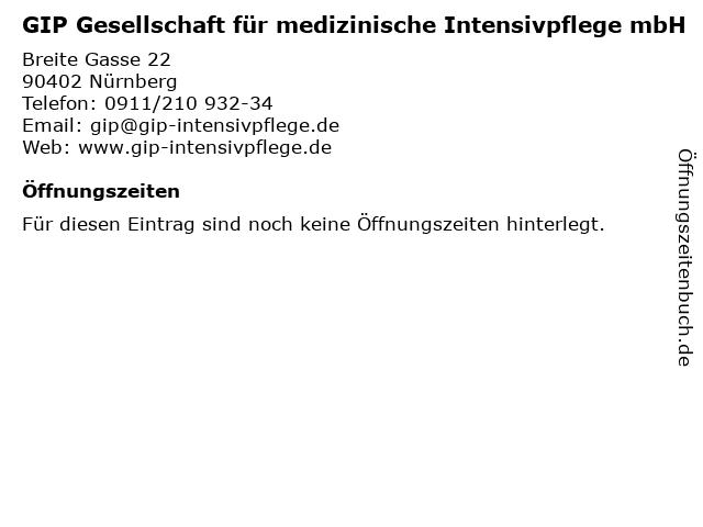GIP Gesellschaft für medizinische Intensivpflege mbH in Nürnberg: Adresse und Öffnungszeiten