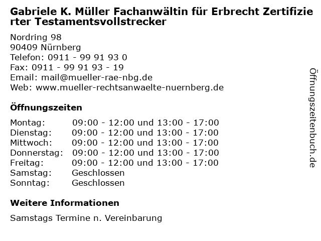 Gabriele K. Müller Fachanwältin für Erbrecht Zertifizierter Testamentsvollstrecker in Nürnberg: Adresse und Öffnungszeiten