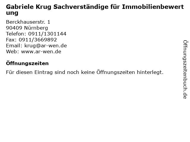 Gabriele Krug Sachverständige für Immobilienbewertung in Nürnberg: Adresse und Öffnungszeiten