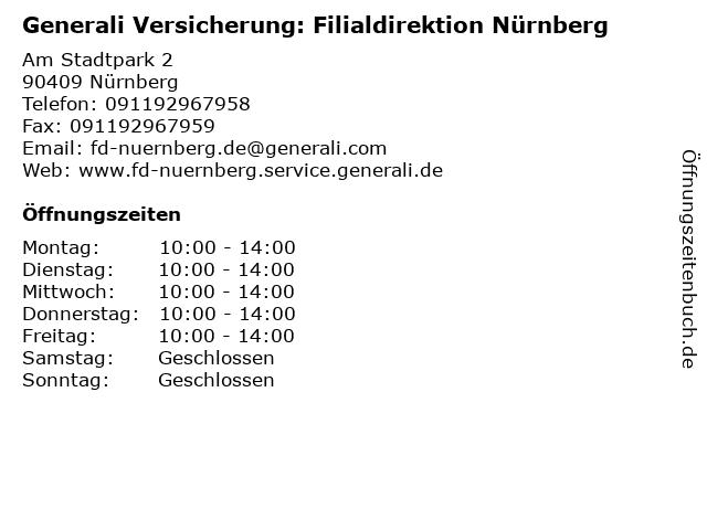 ᐅ Offnungszeiten Generali Versicherung Filialdirektion Nurnberg