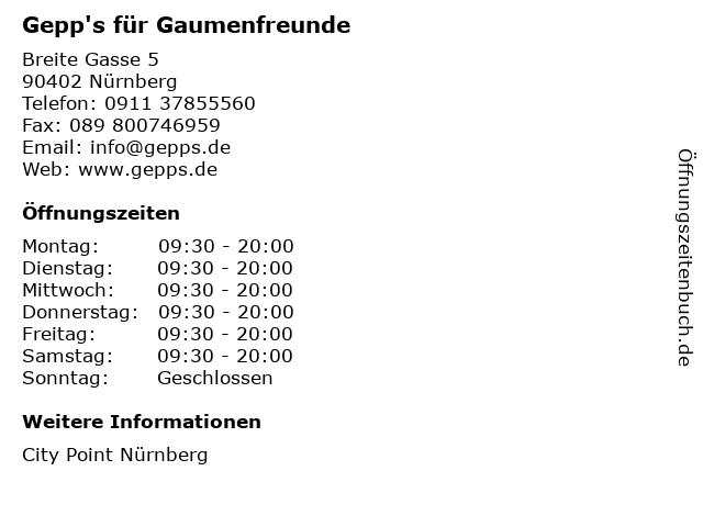 Gepp's für Gaumenfreunde in Nürnberg: Adresse und Öffnungszeiten