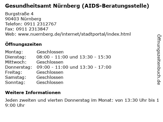 Gesundheitsamt Nürnberg (AIDS-Beratungsstelle) in Nürnberg: Adresse und Öffnungszeiten