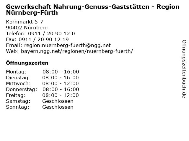 Gewerkschaft Nahrung-Genuss-Gaststätten - Region Nürnberg-Fürth in Nürnberg: Adresse und Öffnungszeiten