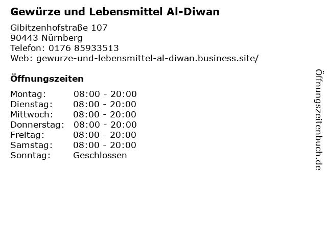 Gewürze und Lebensmittel Al-Diwan in Nürnberg: Adresse und Öffnungszeiten