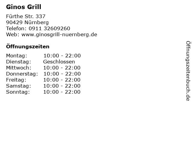 Ginos Grill in Nürnberg: Adresse und Öffnungszeiten