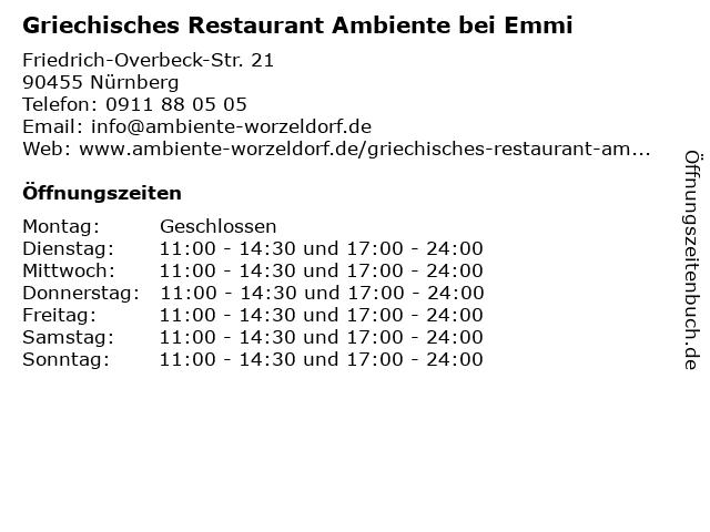 Griechisches Restaurant Ambiente bei Emmi in Nürnberg: Adresse und Öffnungszeiten