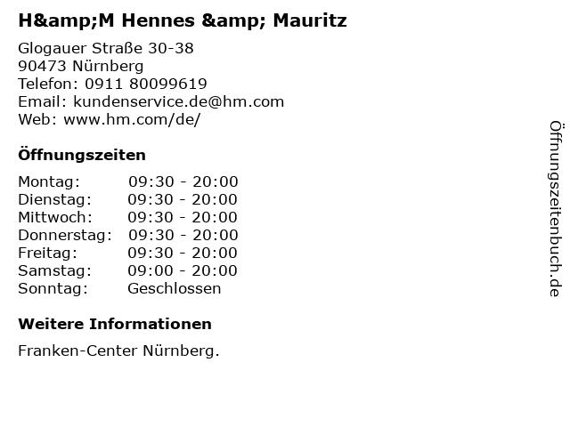 H&M Hennes & Mauritz in Nürnberg: Adresse und Öffnungszeiten