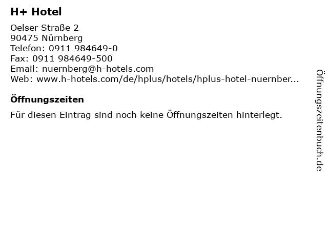 H+ Hotel in Nürnberg: Adresse und Öffnungszeiten