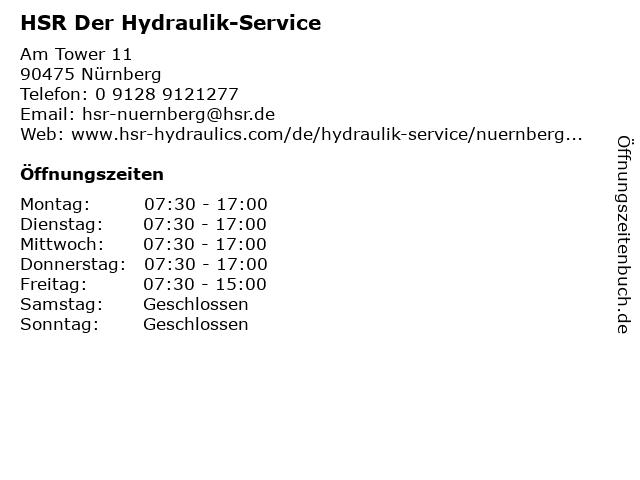 HSR Der Hydraulik-Service in Nürnberg: Adresse und Öffnungszeiten