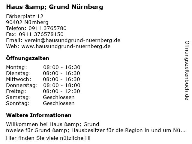 ᐅ öffnungszeiten Grund Und Hausbesitzerverein Nürnberg U Umg