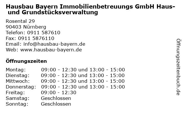 Hausbau Bayern Immobilienbetreuungs GmbH Haus- und Grundstücksverwaltung in Nürnberg: Adresse und Öffnungszeiten