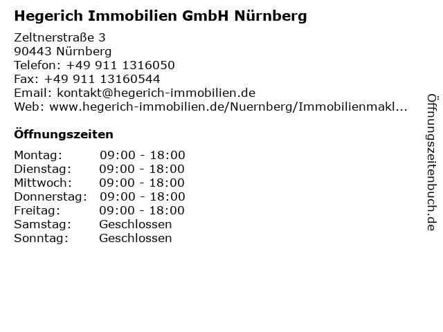 Hegerich Immobilien GmbH Nürnberg in Nürnberg: Adresse und Öffnungszeiten