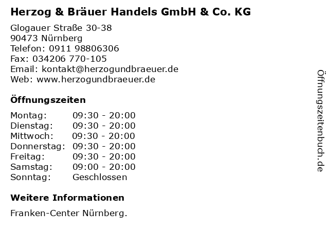 Herzog & Bräuer Handels GmbH & Co. KG in Nürnberg: Adresse und Öffnungszeiten
