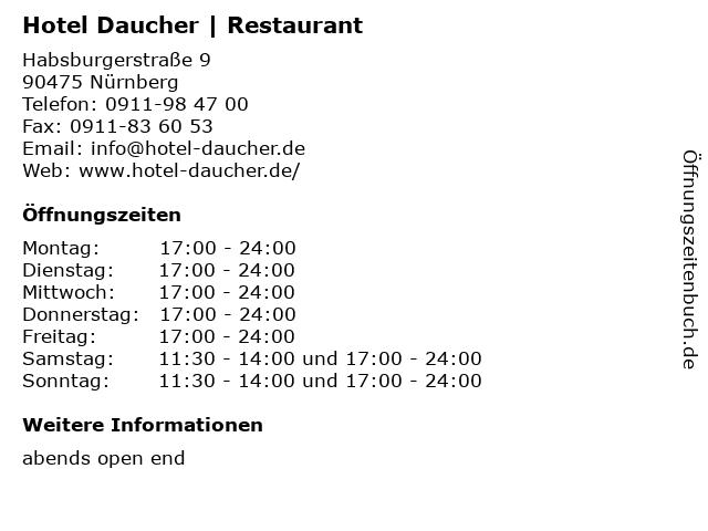 Hotel Daucher | Restaurant in Nürnberg: Adresse und Öffnungszeiten