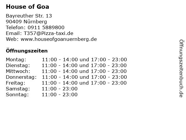 House of Goa in Nürnberg: Adresse und Öffnungszeiten