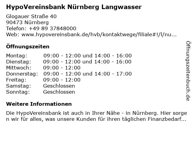 HypoVereinsbank Nürnberg Langwasser in Nürnberg: Adresse und Öffnungszeiten