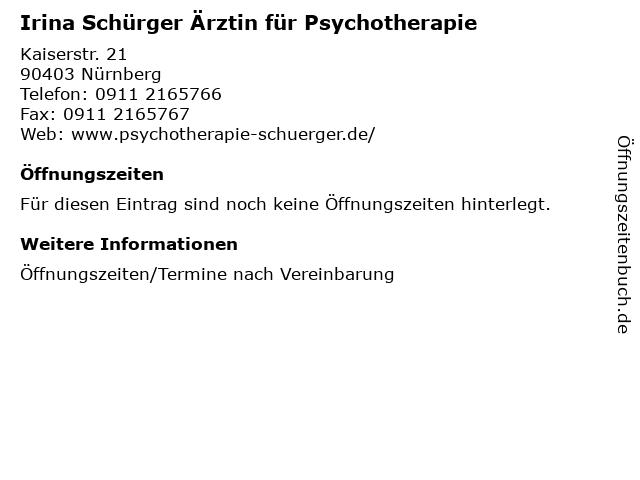 Irina Schürger Ärztin für Psychotherapie in Nürnberg: Adresse und Öffnungszeiten