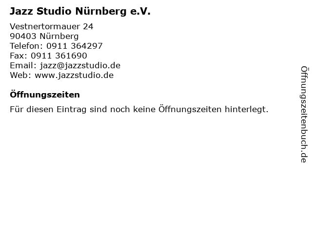 Jazz Studio Nürnberg e.V. in Nürnberg: Adresse und Öffnungszeiten