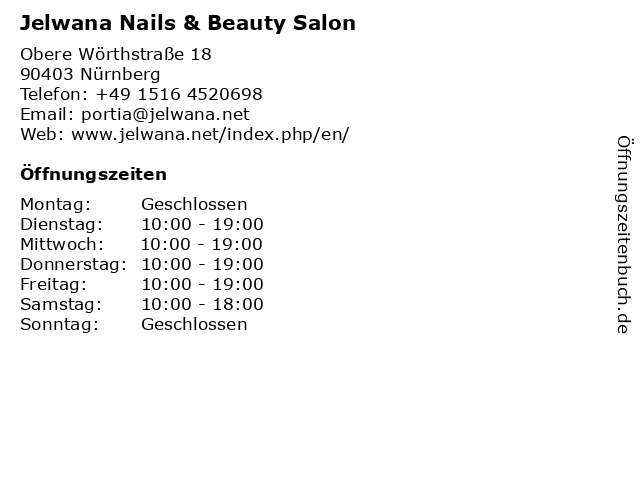 Jelwana Nails & Beauty Salon in Nürnberg: Adresse und Öffnungszeiten
