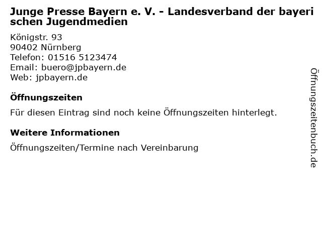 Junge Presse Bayern e. V. - Landesverband der bayerischen Jugendmedien in Nürnberg: Adresse und Öffnungszeiten