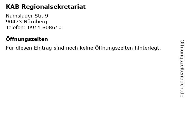 KAB Regionalsekretariat in Nürnberg: Adresse und Öffnungszeiten