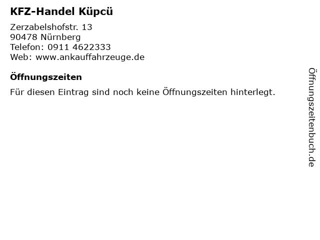 KFZ-Handel Küpcü in Nürnberg: Adresse und Öffnungszeiten