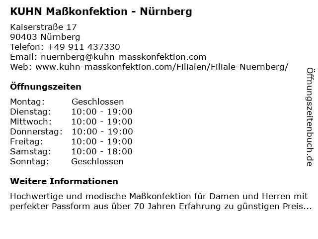 KUHN Maßkonfektion - Nürnberg in Nürnberg: Adresse und Öffnungszeiten