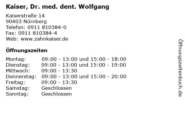 Kaiser, Dr. med. dent. Wolfgang in Nürnberg: Adresse und Öffnungszeiten