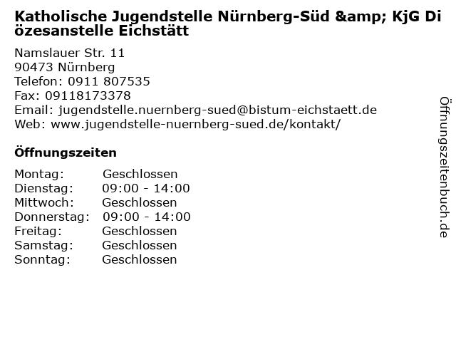 Katholische Jugendstelle Nürnberg-Süd & KjG Diözesanstelle Eichstätt in Nürnberg: Adresse und Öffnungszeiten