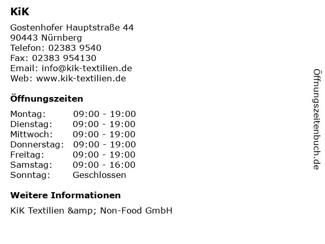 KiK in Nürnberg: Adresse und Öffnungszeiten