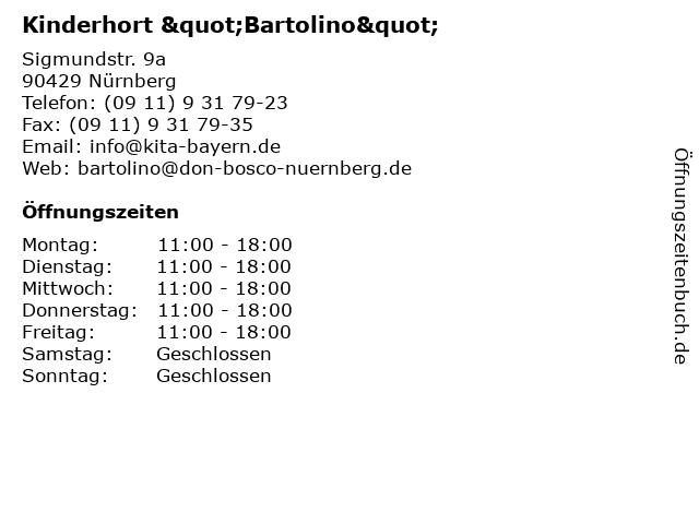 """Kinderhort """"Bartolino"""" in Nürnberg: Adresse und Öffnungszeiten"""