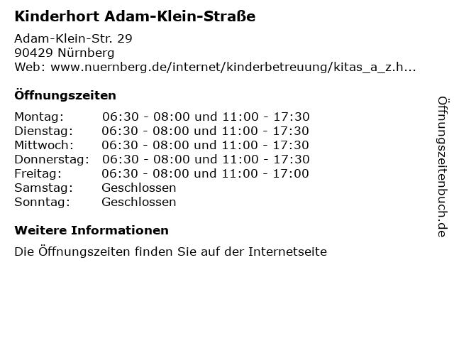 Kinderhort Adam-Klein-Straße in Nürnberg: Adresse und Öffnungszeiten