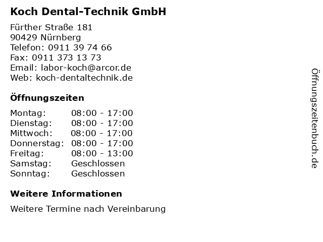 Koch Dental-Technik GmbH in Nürnberg: Adresse und Öffnungszeiten
