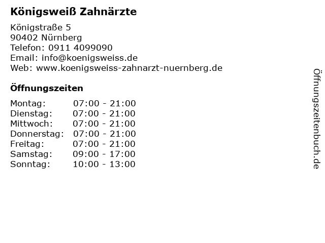 Königsweiß Zahnärzte in Nürnberg: Adresse und Öffnungszeiten