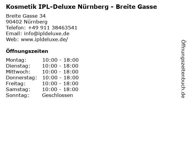Kosmetik IPL-Deluxe Nürnberg - Breite Gasse in Nürnberg: Adresse und Öffnungszeiten
