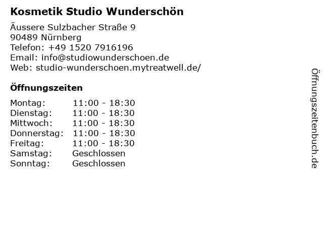Kosmetik Studio Wunderschön in Nürnberg: Adresse und Öffnungszeiten